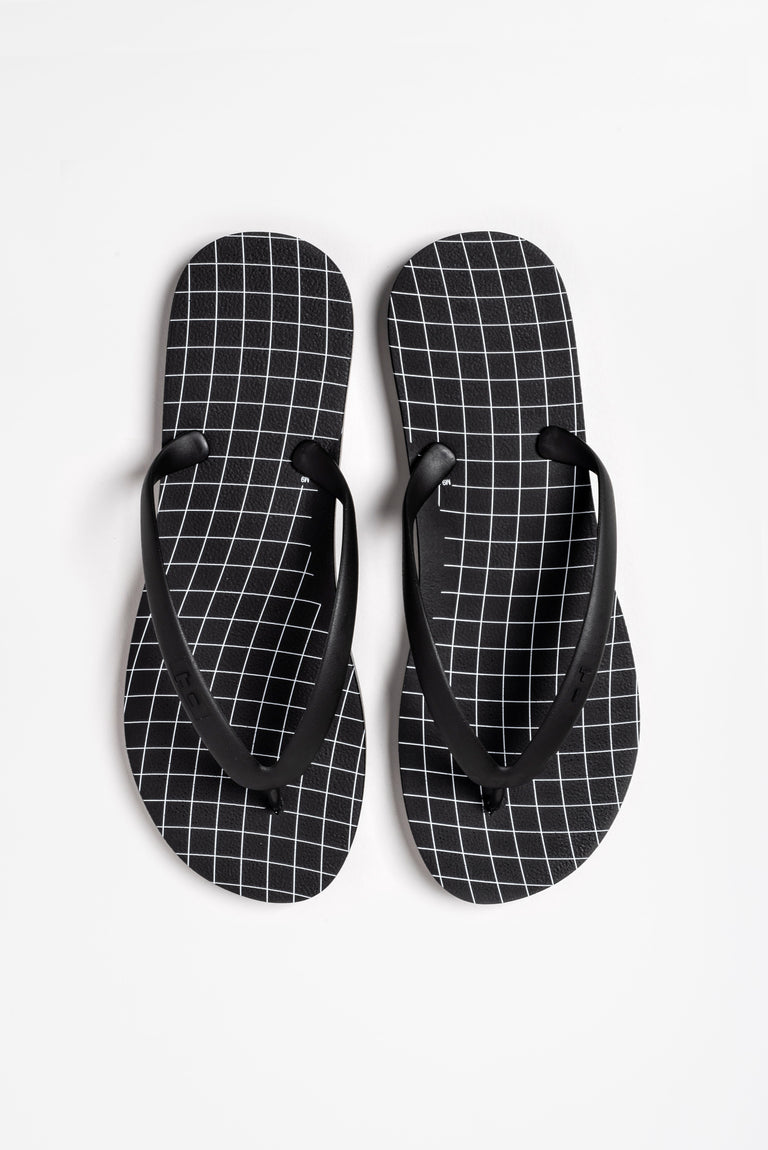 Black and white flp flops for men.