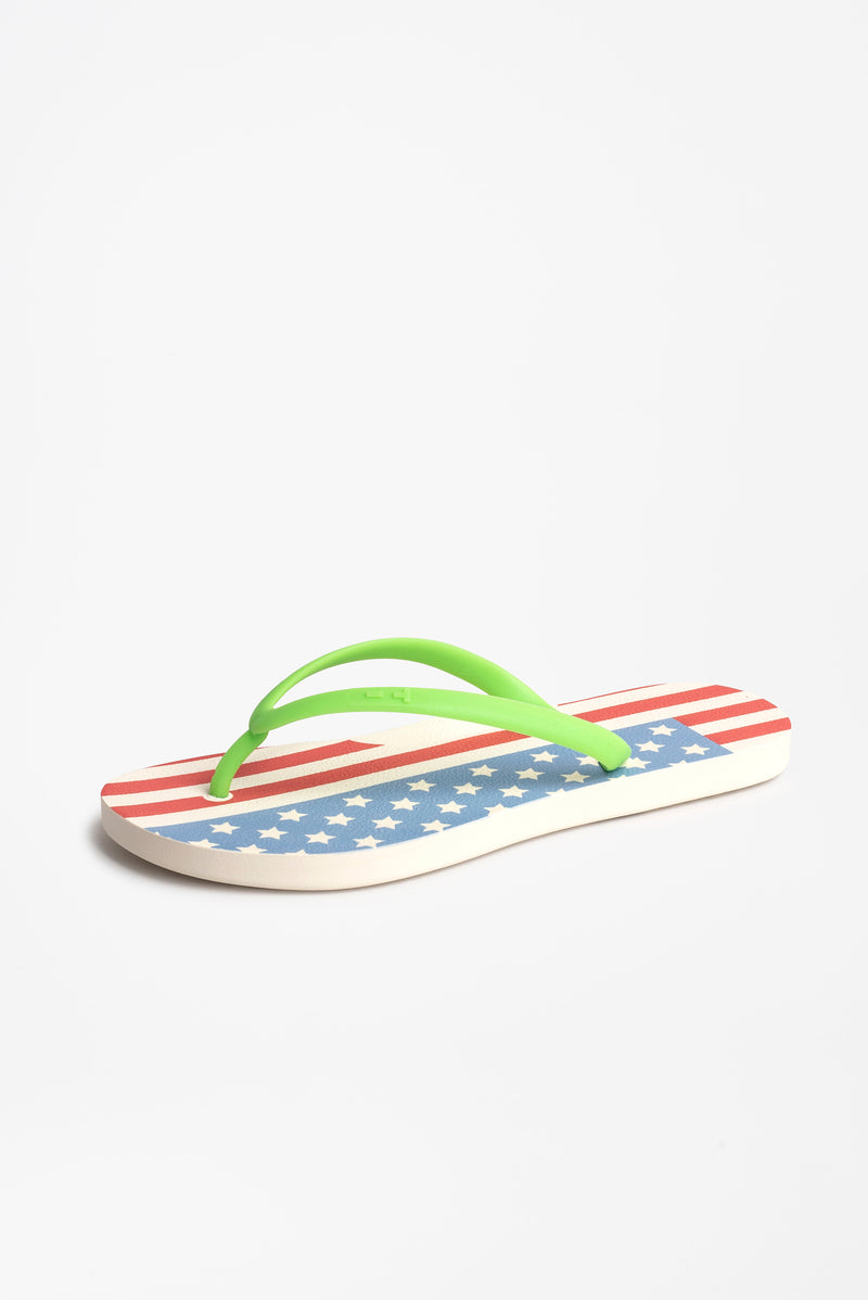 Women's flip flops with American flag design