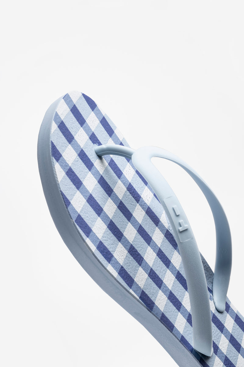 Tidal New York blue flip flops. Made with sustainable materials in America