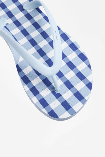 Women's blue and white checked flip flops