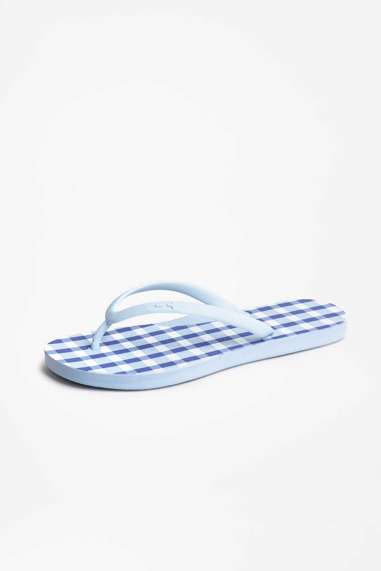 Sky blue flip flops for women in checked print
