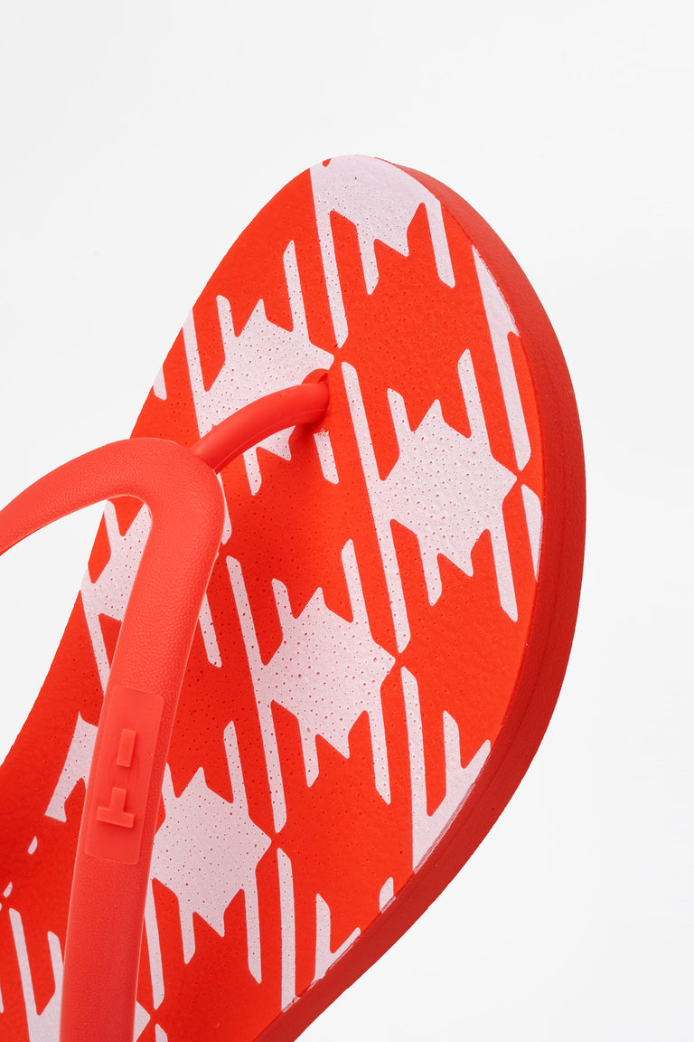 Womens red flip-flops with white check print