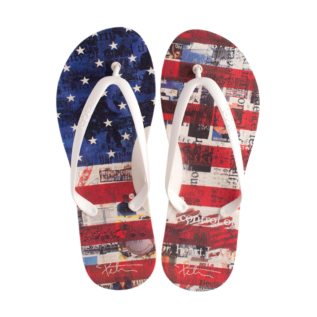 US Flag Women's Flip-Flops - White