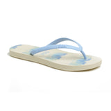 Watercolor Women's Flip-Flops - White/Sky Blue