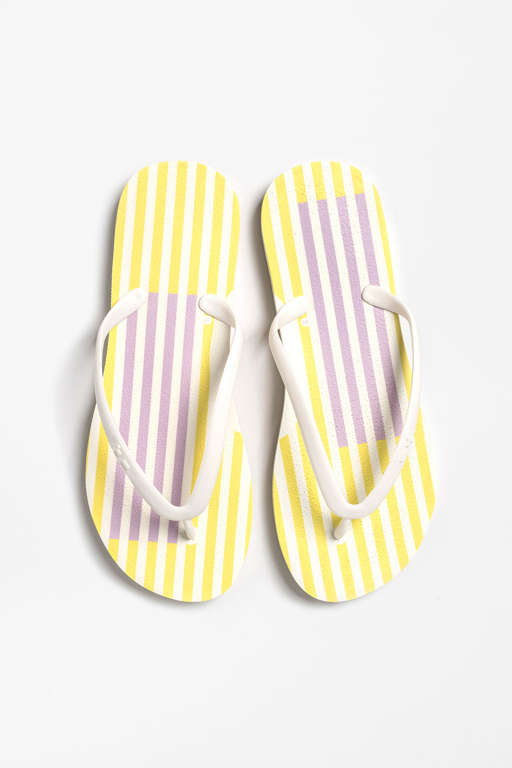 Women's sustainable flip-flops in white with stripes