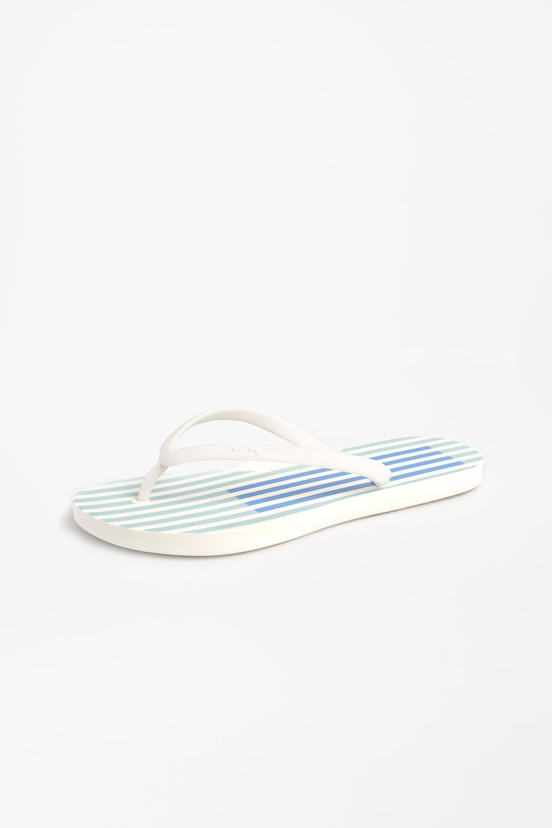 Blue striped flip flops made with sustainable materials
