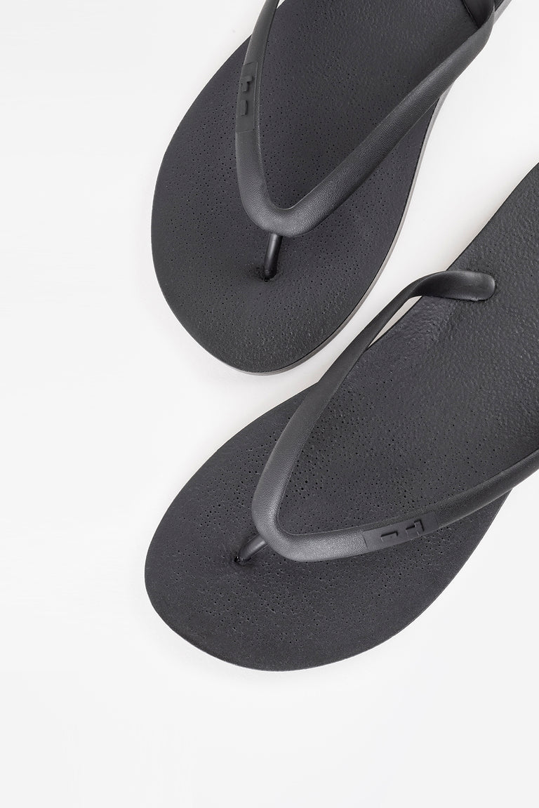 American made flip flops in black for women