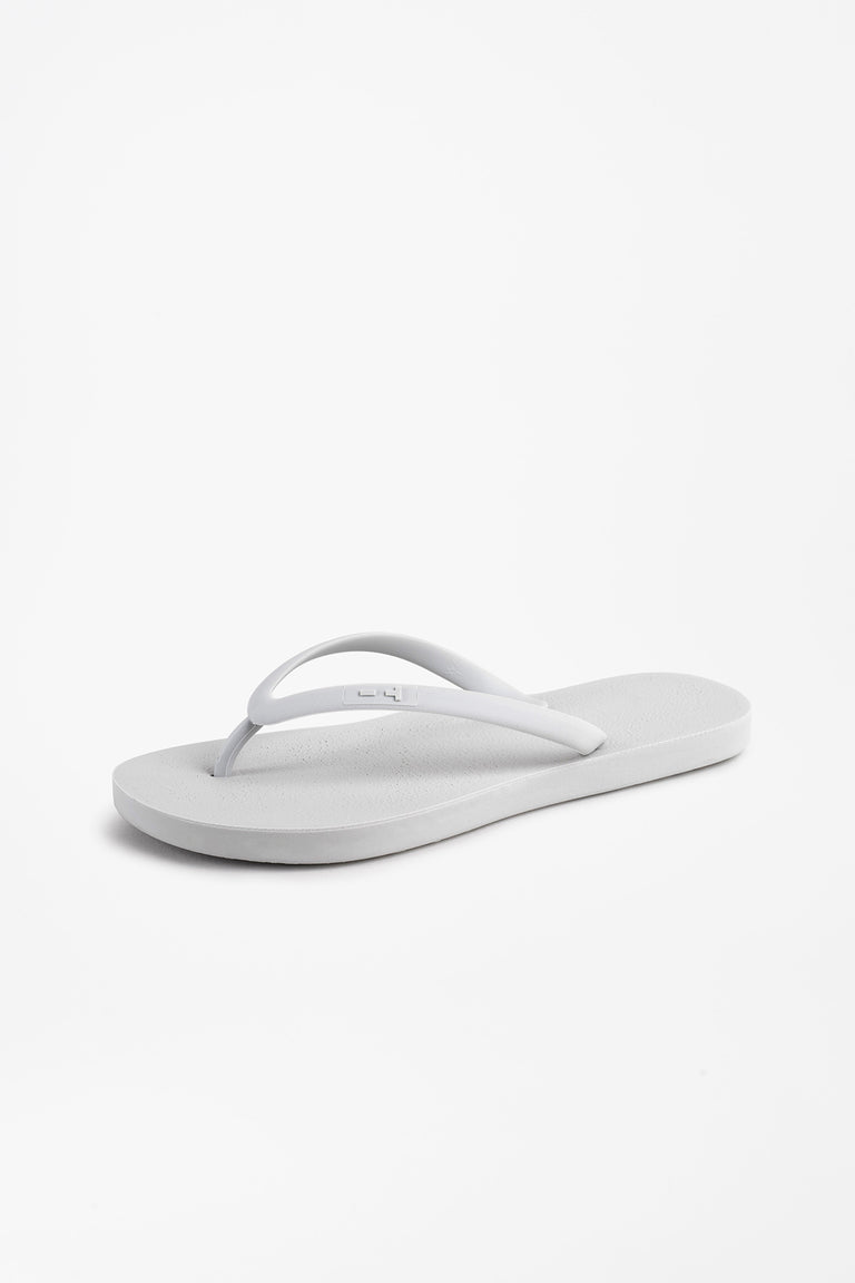Grey flip flops made in the USA for women