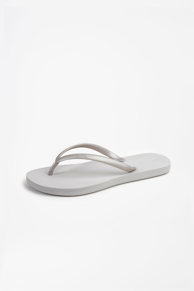 American made silver flip flops for women
