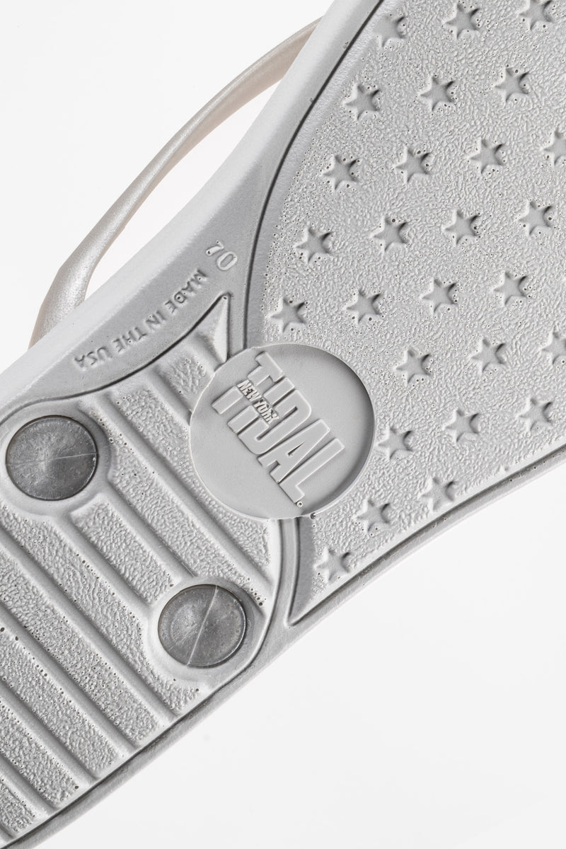 Women's silver flip flops made in America