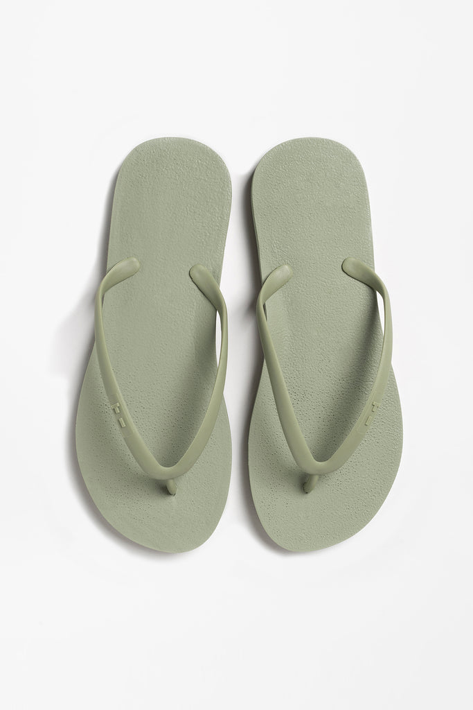 Olive green flip flops for women