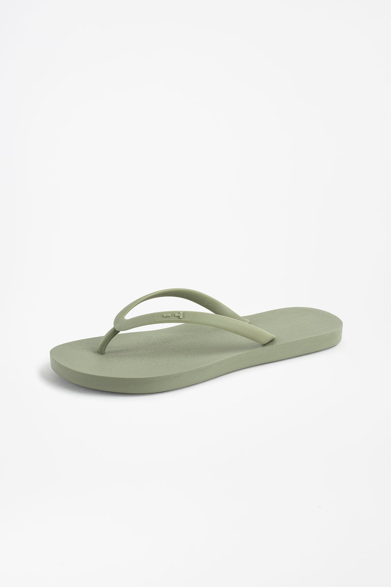 American made women's flip flops in olive green