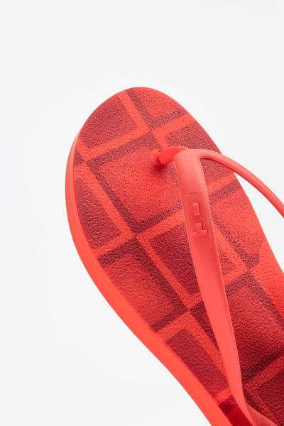 American made red women flip-flops with orange details