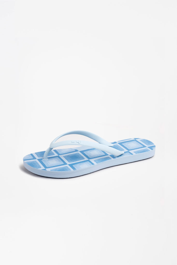 Side view of sky blue flip-flops for women