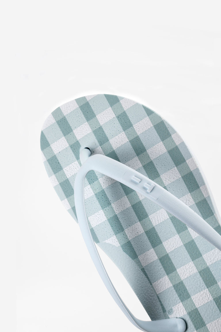 Blue women's flip-flops made from recycled materials