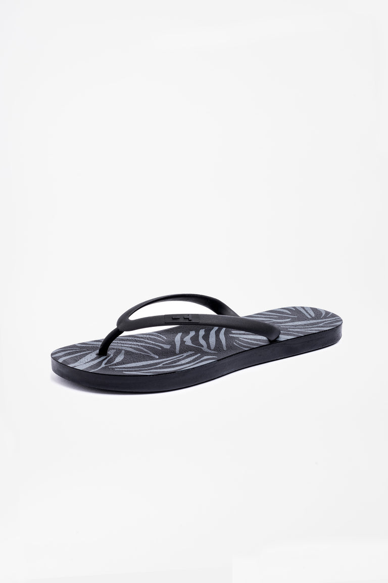 Women's black flip flops with black strap