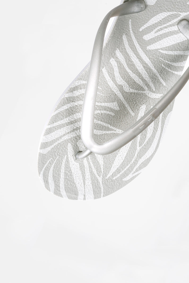 Zebra print light grey women's flip flops