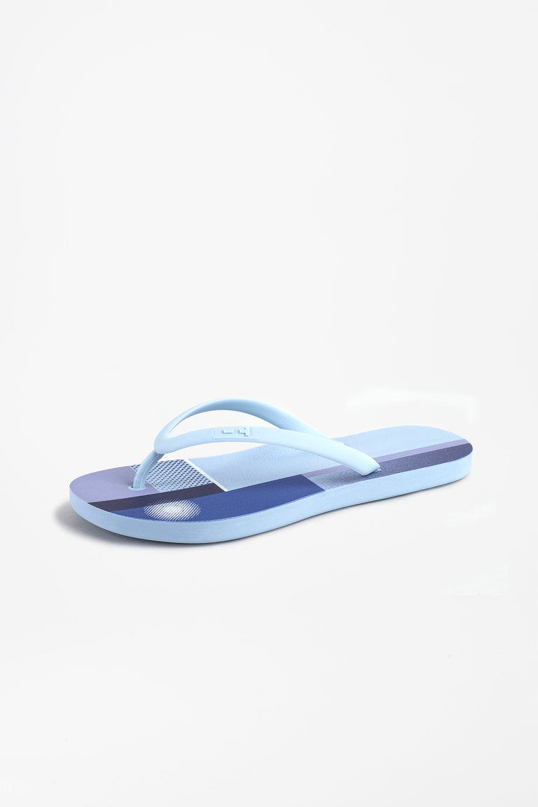 Side view of women's flip flops in sky blue color