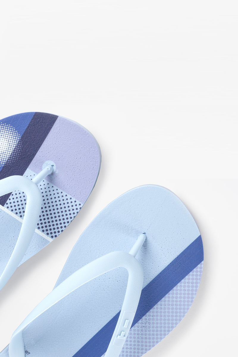 Flip flops for women in sky blue with color block pattern