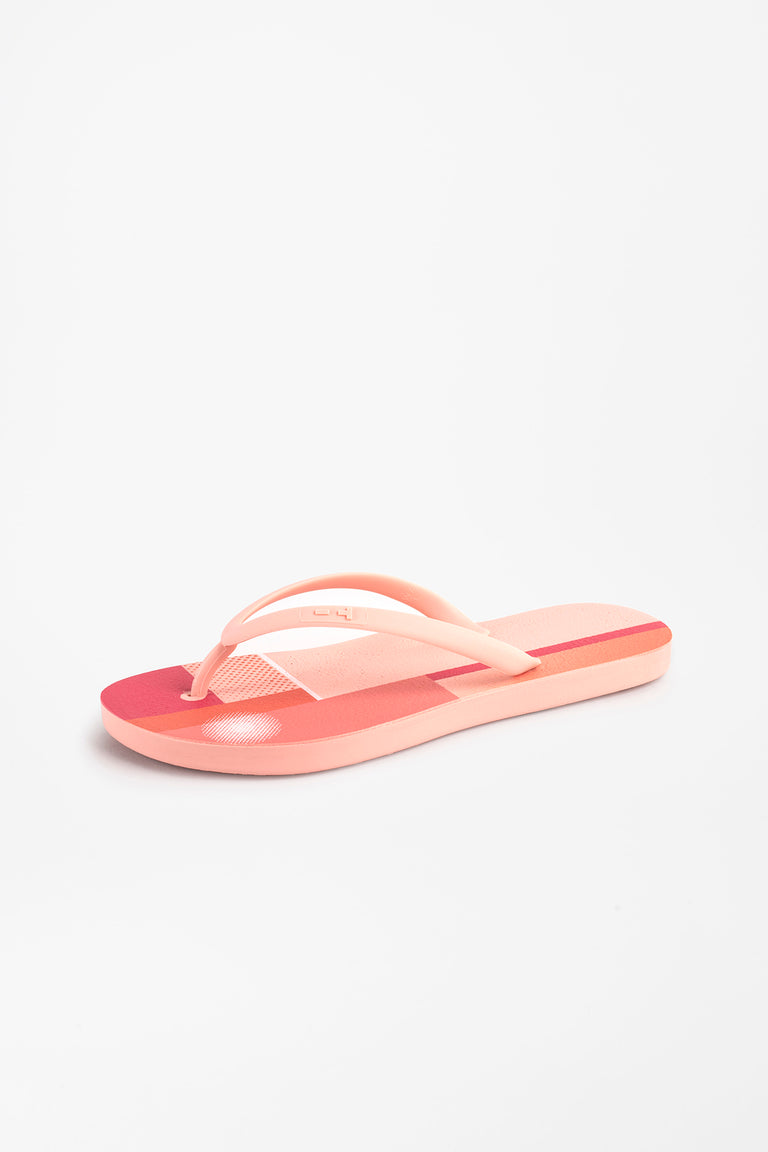 Sustainable women's flip flops with pink color block design