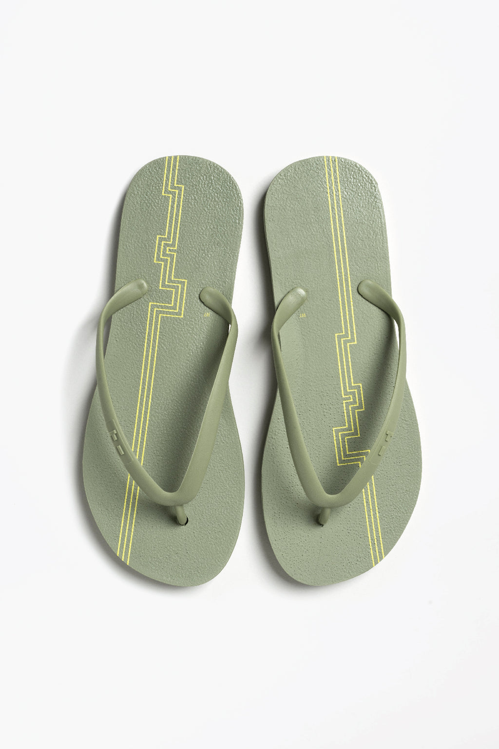 Women's olive green flip flops with stripes. Sustainably made by Tidal New York
