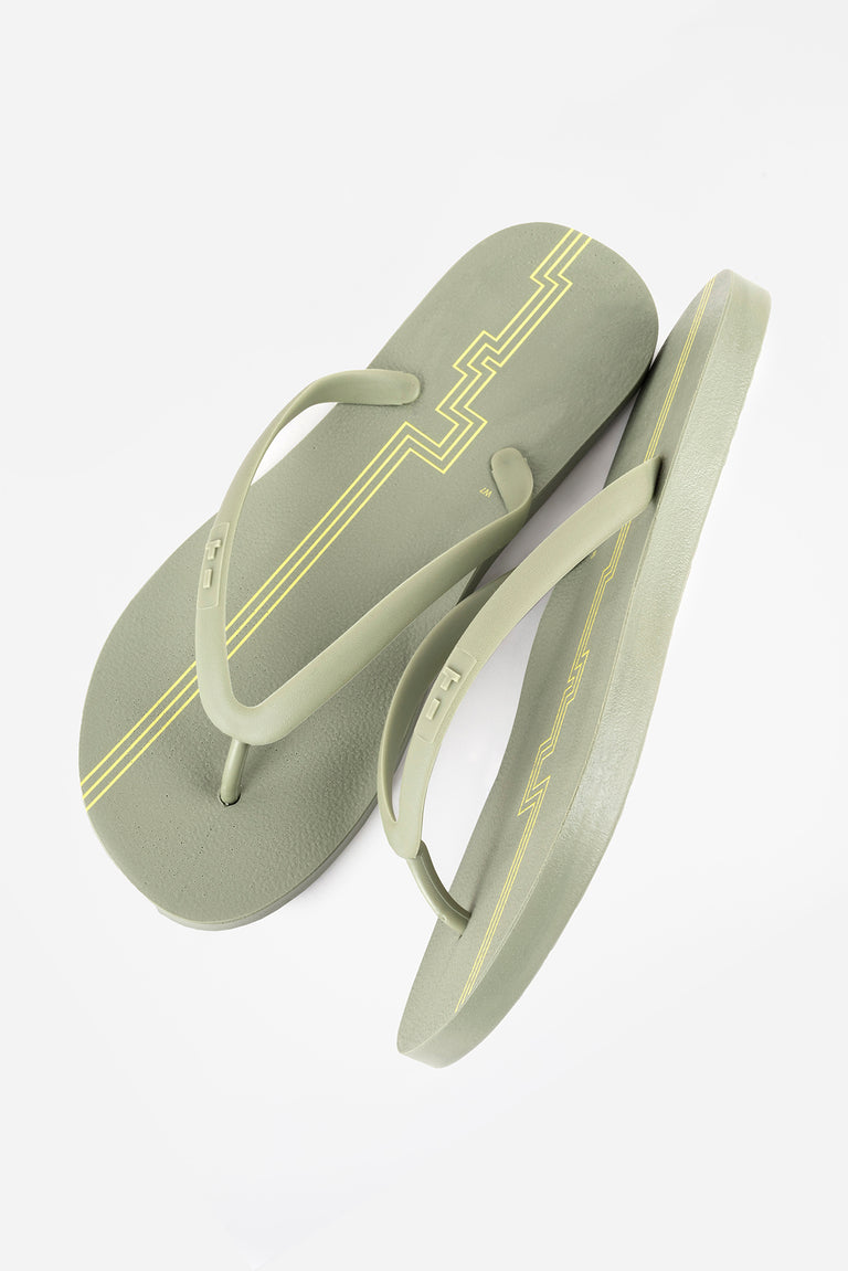 Eco-friendly army olive green women's flip flops