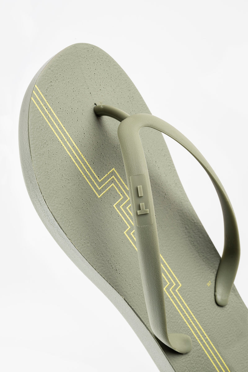 Green flip flops for women with stripe design