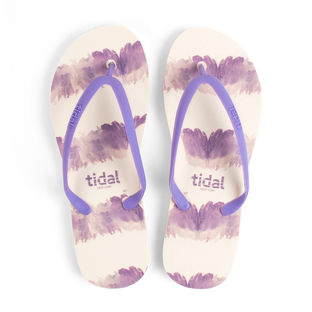 Watercolor Women's Flip-Flops - White/Purple