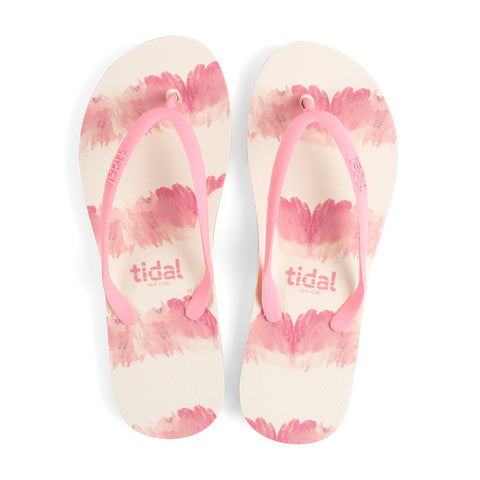 Watercolor Women's Flip-Flops - White/Rose