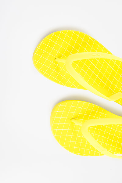 American made flip flops for women in acid yellow