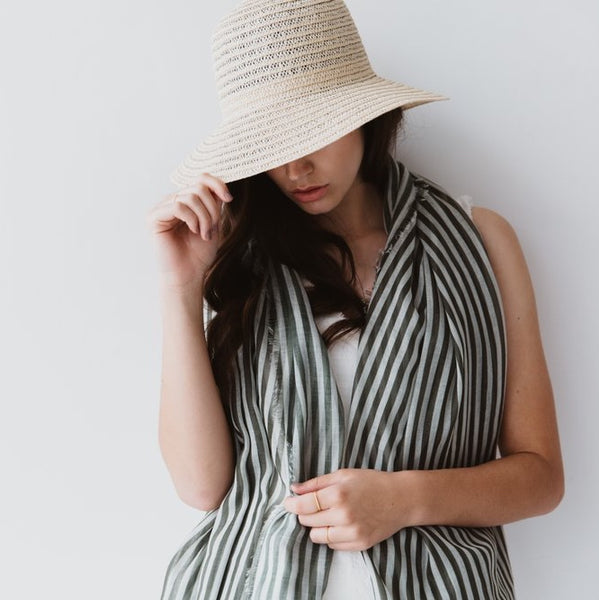 STRIPES MAXI SCARF KHAKI