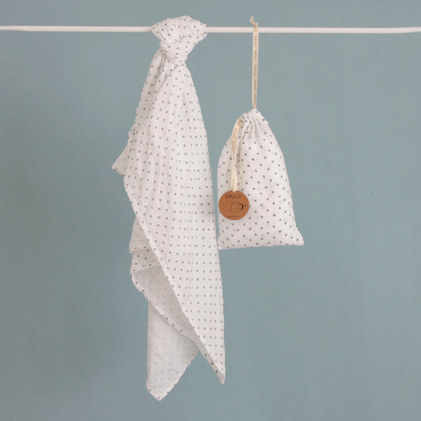 100% Organic Cotton Muslin Wrap - Near White Cross