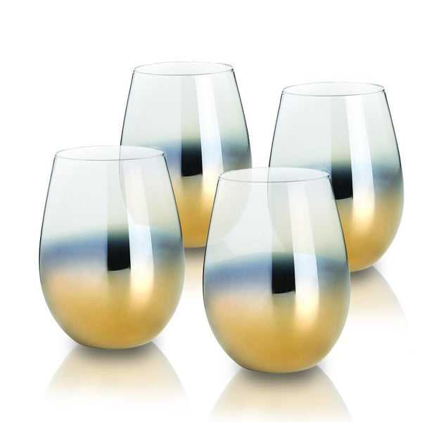 GOLD STEMLESS GLASSES - SET OF 4