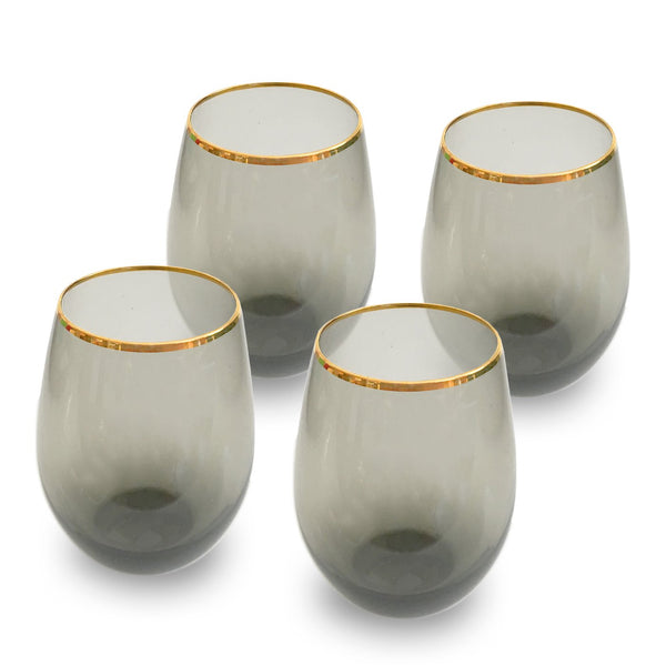 CHARCOAL STEMLESS GLASSES - SET OF 4