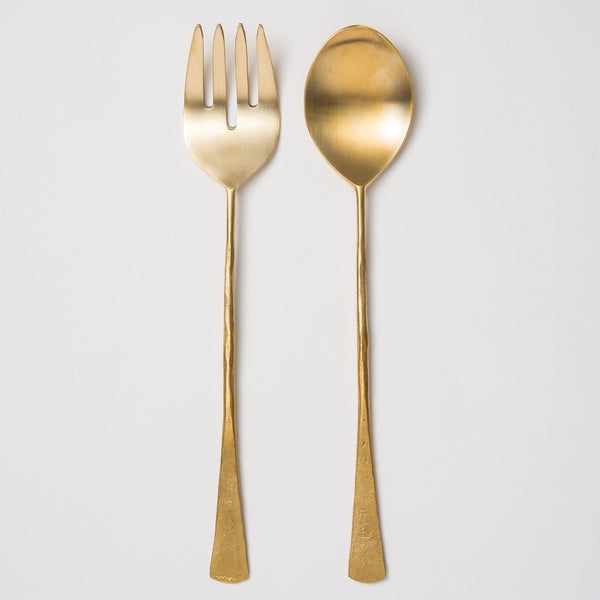 Brass Hand Forged Salad Servers S/2