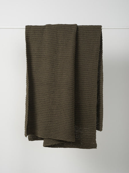 PURL KNIT COTTON THROW SEAWEED