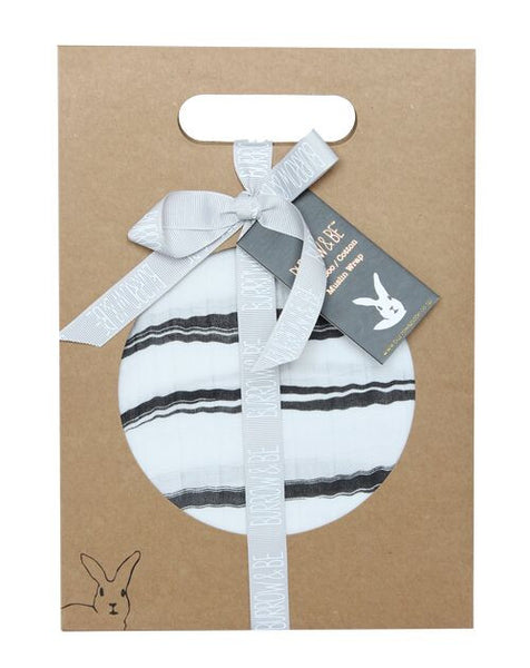 Bambo/cotton muslin wrap - painted stripe print