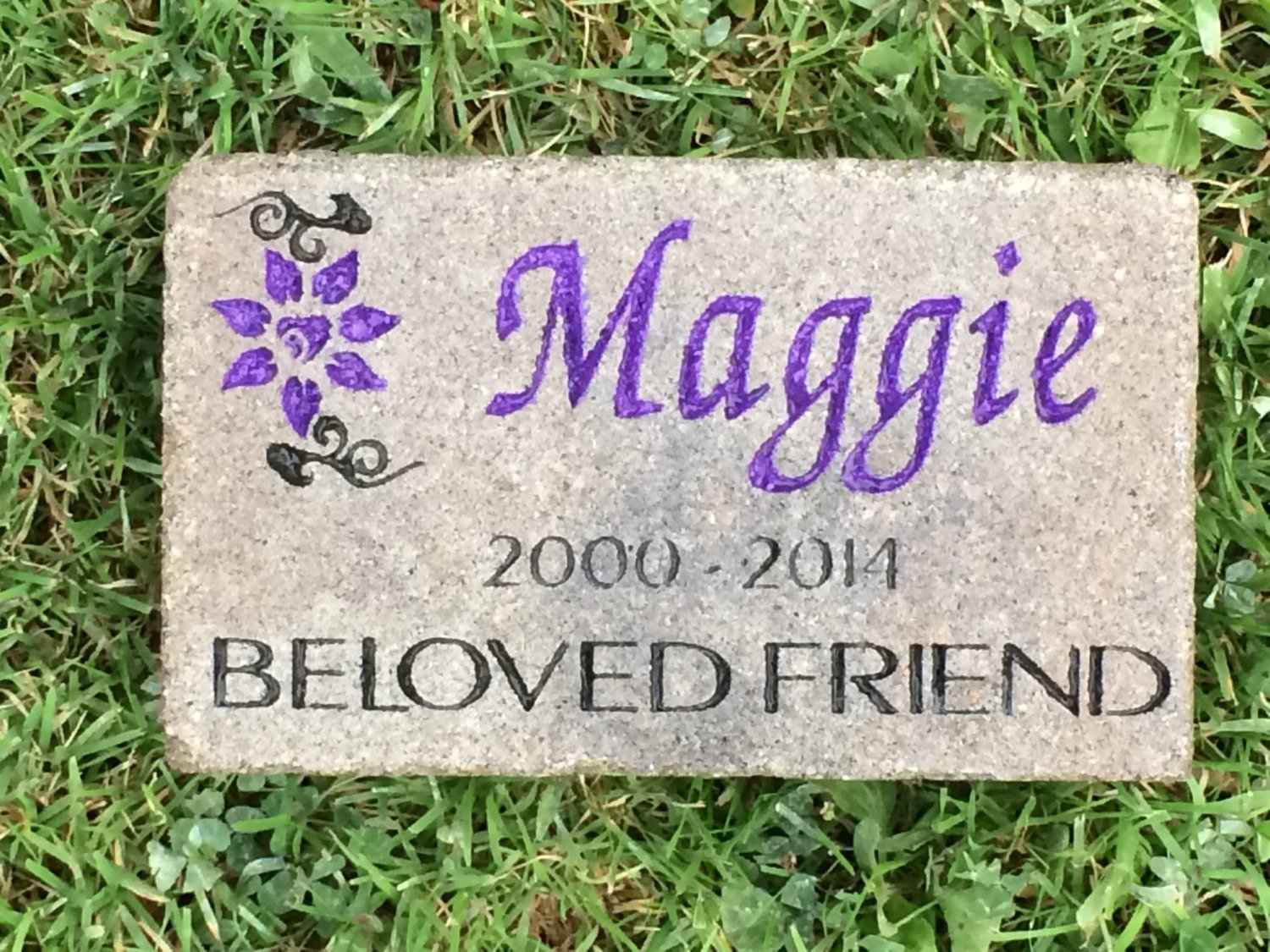personalized pet memorial marker 7x4 cambridge pavingstone with