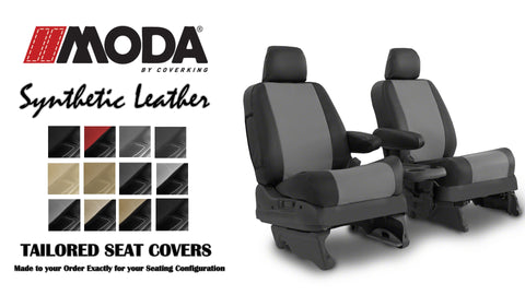 Coverking MODA Leatherette Custom Fit Seat Covers for TOYOTA PRIUS C 2012-2016