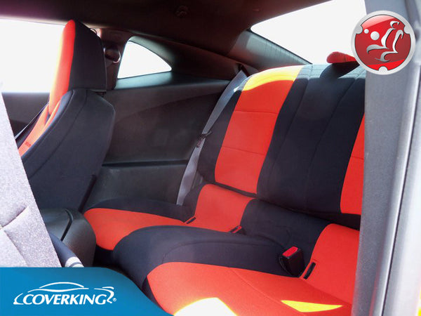 coverking cr grade neoprene custom rear seat covers for chevy camaro 5 premium covers outlet. Black Bedroom Furniture Sets. Home Design Ideas