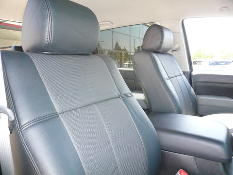 Clazzio PVC Leatherette Custom Fit Front & Rear Seat Covers for Toyota Tundra