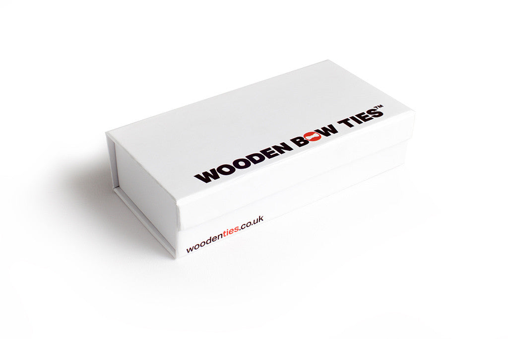 wooden bow tie product shot packaging