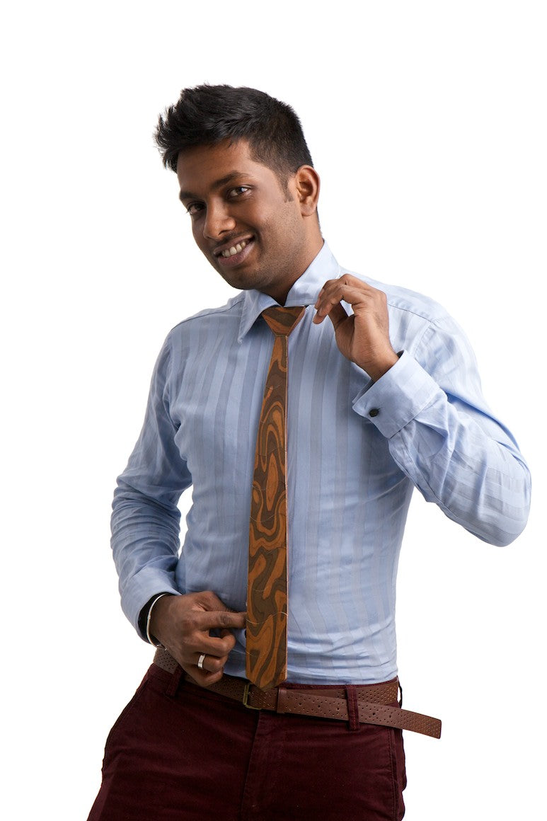 Skinny Tiger Skin Dark Wooden Tie