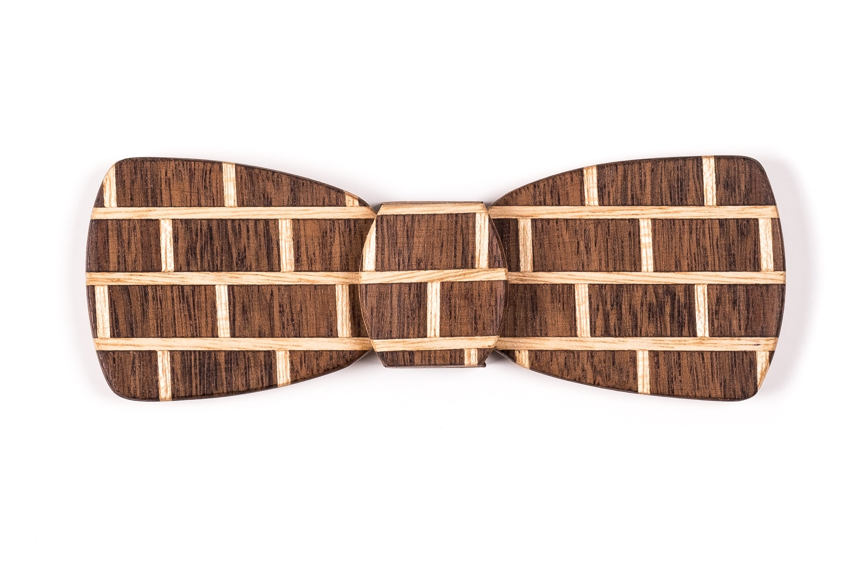 Batwing Hipster Wood Bow Tie - Brick Wall Dark