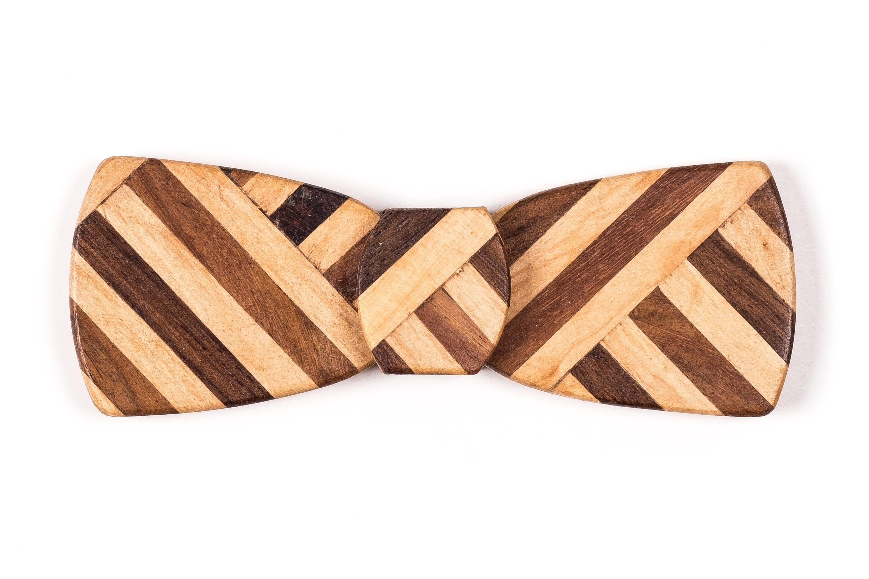 Batwing Hipster Wood Bow Tie - Multi Z Stripe Thick