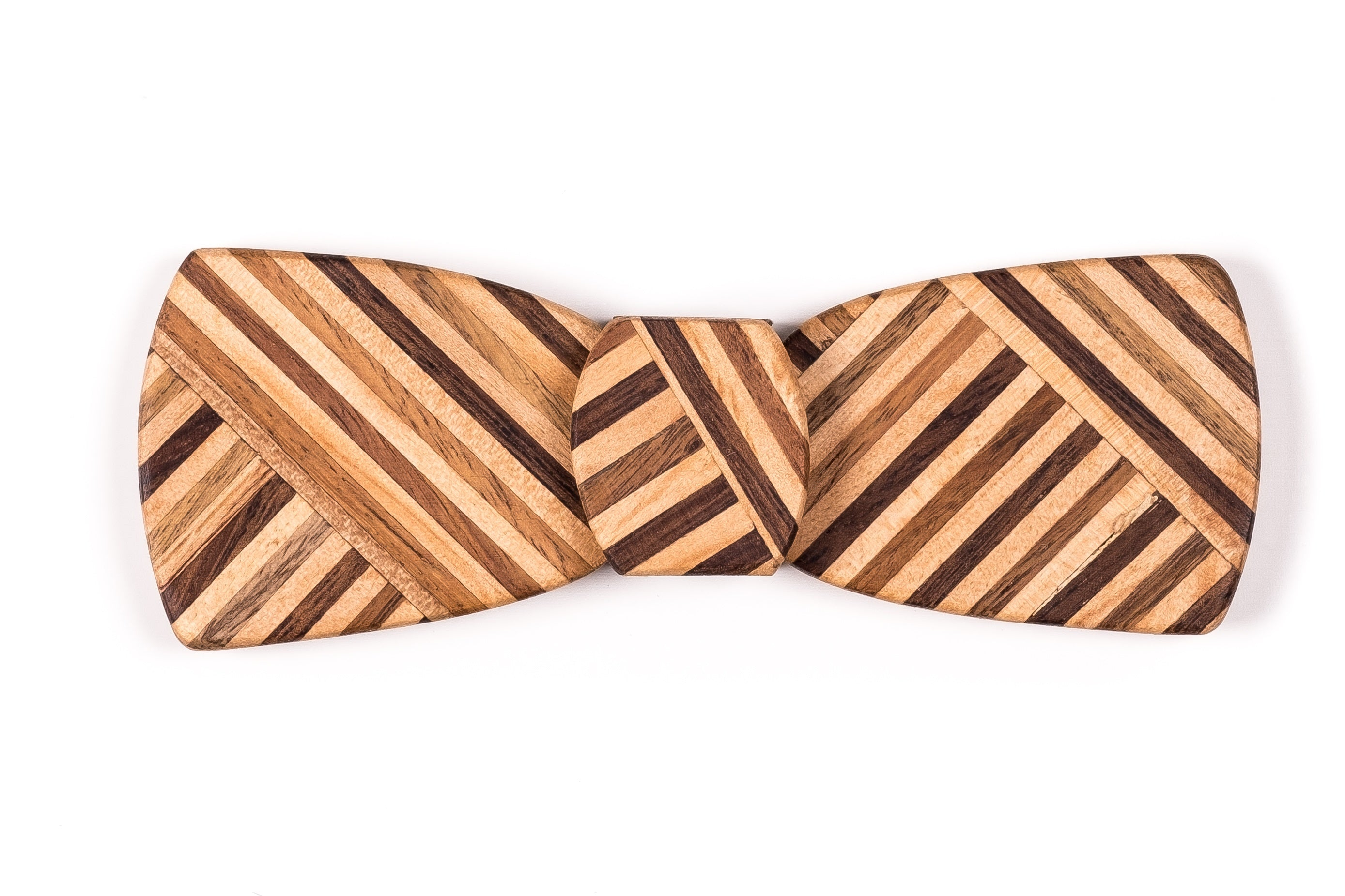 Batwing Hipster Wood Bow Tie - Multi Z Stripe Thin