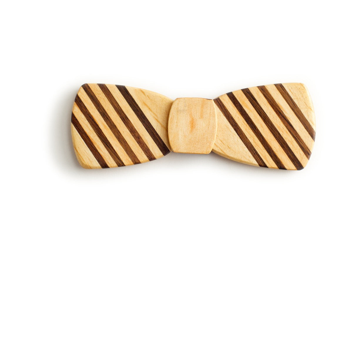 Batwing Wood Bow Tie - 5 Stripe light