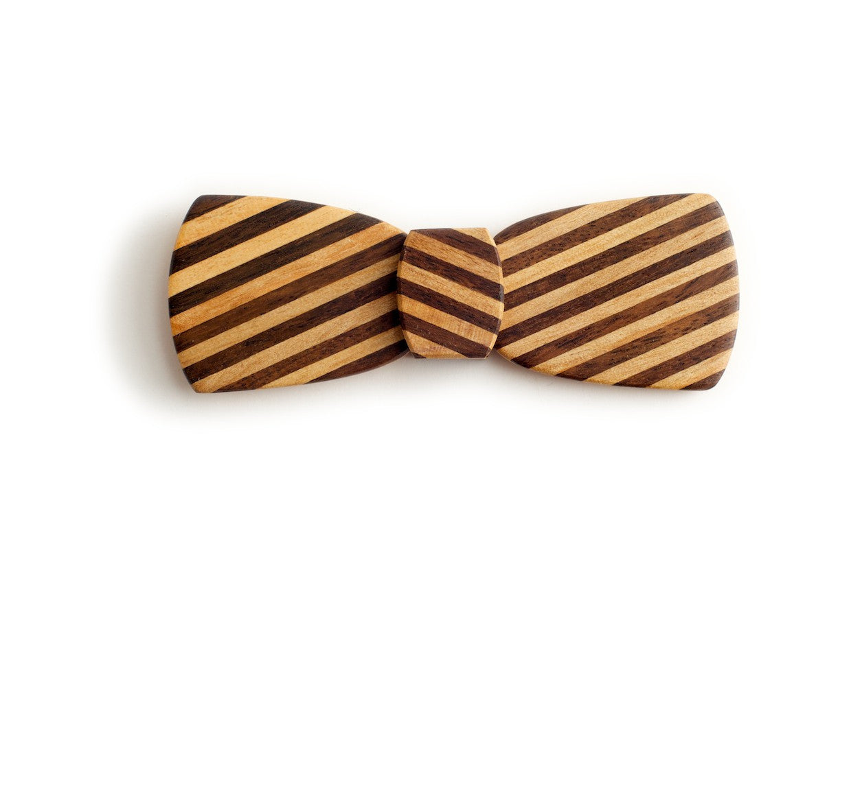 Batwing Hipster Wood Bow Tie - Pinstripe slash