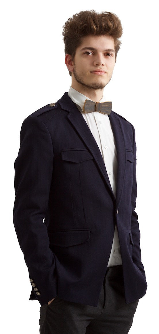 wooden bow tie batwing on model