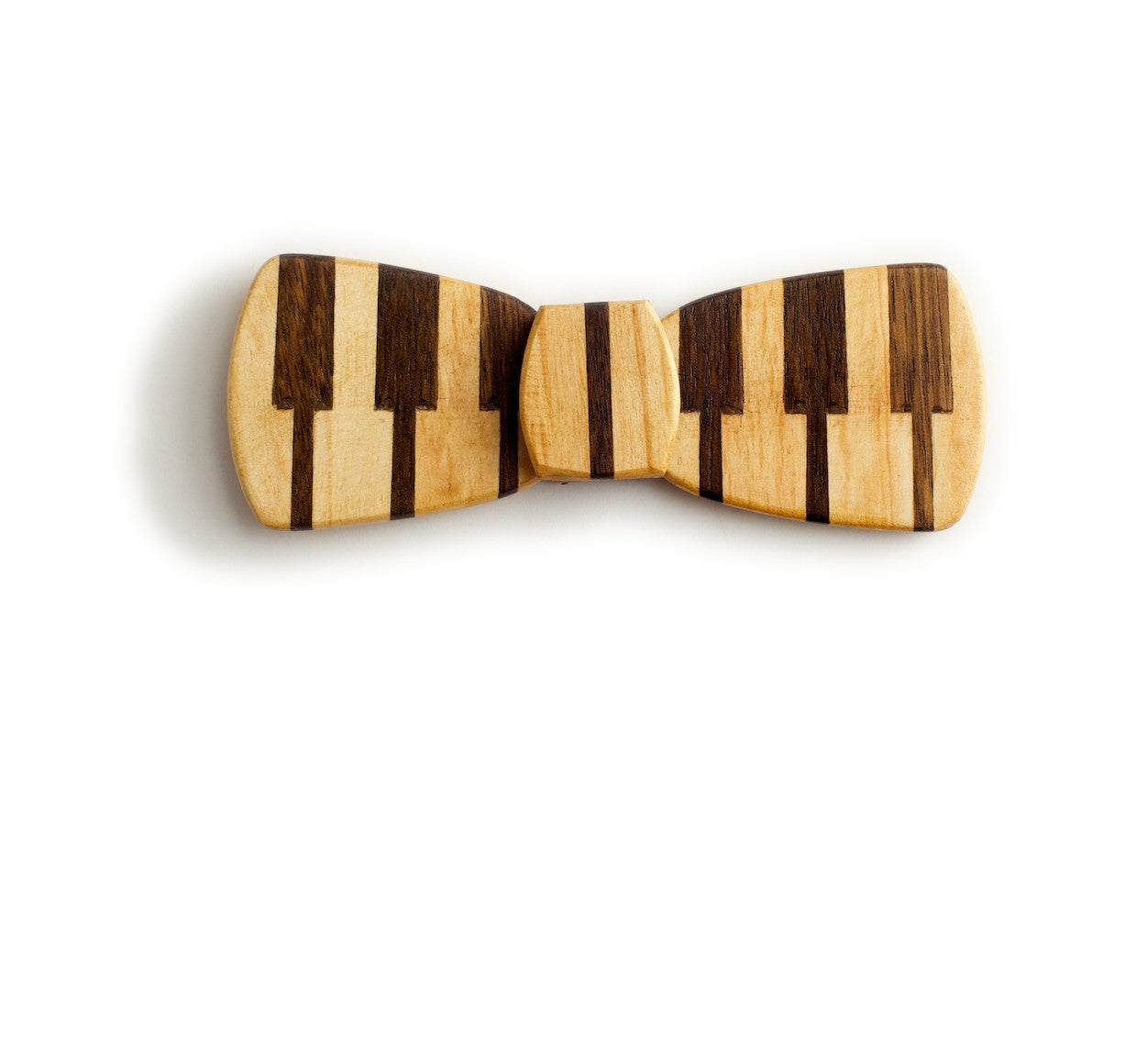 Batwing Hipster Wood Bow Tie - Piano bold